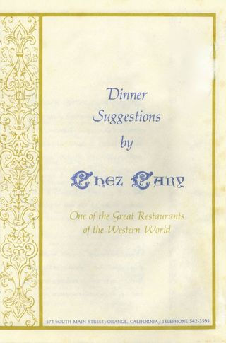 Chez Carey Menu Cover