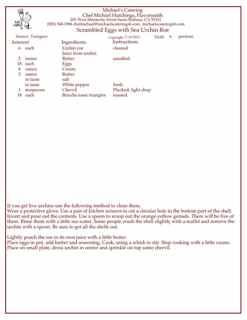 Urchin recipe